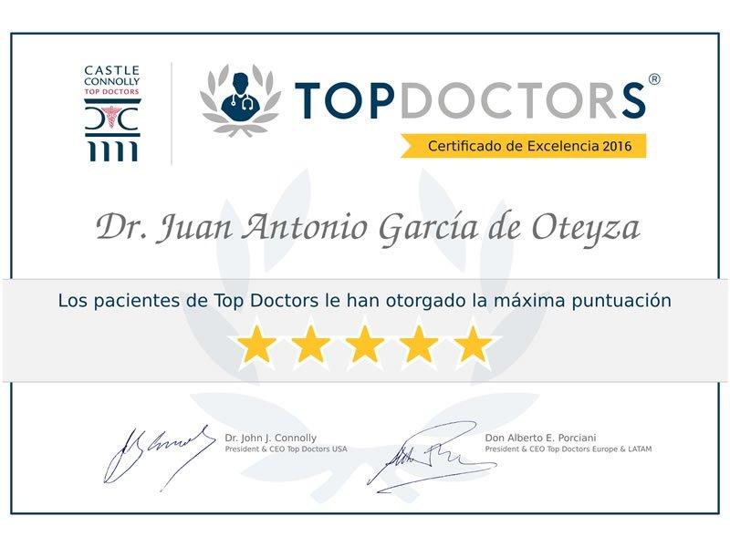 Le Dr. Juan Garcia de Oteyza reçoit de nouveau le Certificat d'excellence de Top Doctors.