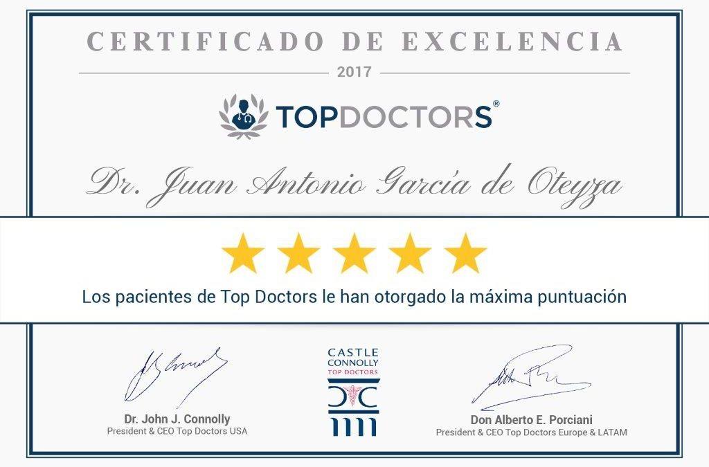 Certificado de excelencia Dr. Garcia de Oteyza
