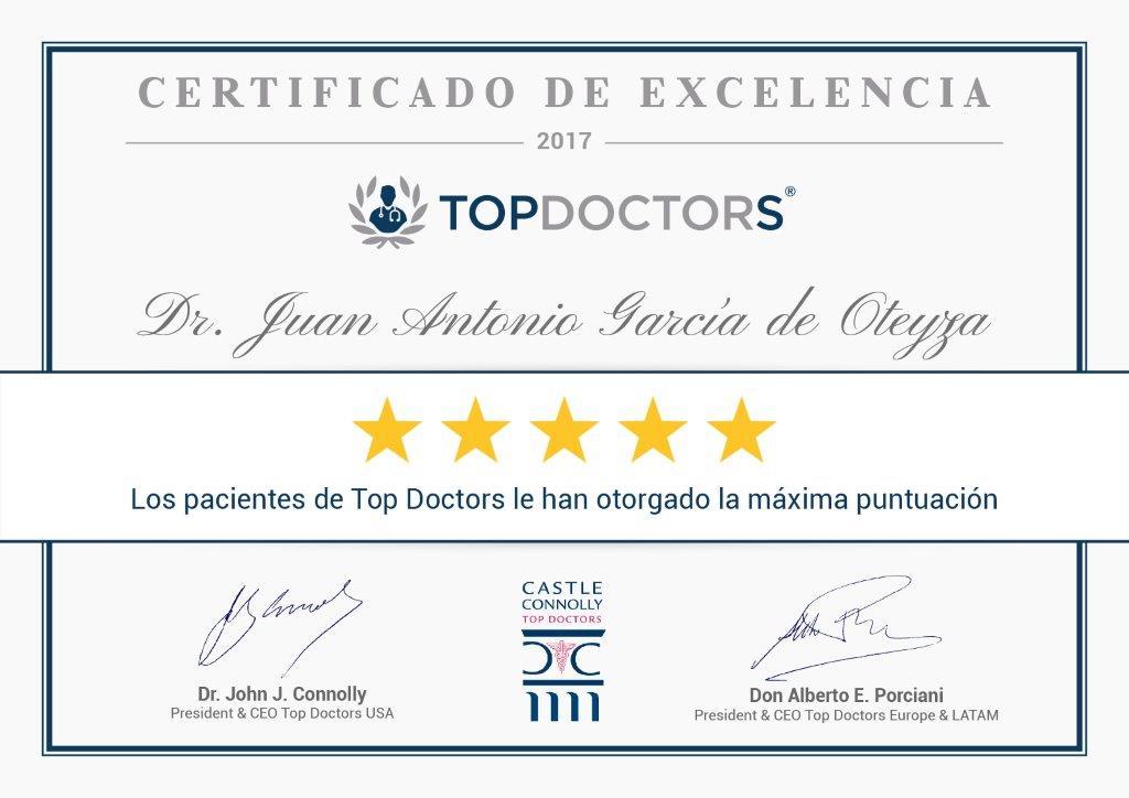 El Dr. Juan García de Oteyza recibe de nuevo el Certificado de Excelencia de TopDoctors